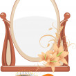 Mirror and hairbrush isolated on the white — Stock Vector