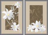 White flowers in decorative gray frame — Vector de stock