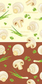 Mushrooms with parsley and chives. Seamless background — Stock Vector