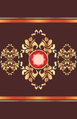 Shining golden ornament with red gemstone on the dark brown background — Stock Vector