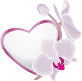 Decorative heart with blooming orchid branch — Stockvector