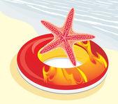 спасательный круг с морская звезда — Cтоковый вектор