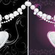Silver hearts with diamonds on the decorative background — Stock Vector #8714143
