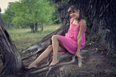 Girl in a pink dress — Stock Photo