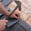 Stock Photo: Roofer works