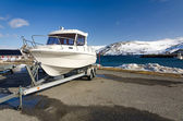 Fast fishing boat on a trailer — Foto Stock