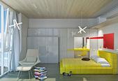 Bright bedroom — Stockfoto