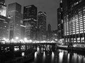Downtown Chicago in black and white — Stock Photo
