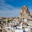 Ortahisar rock fortress in Cappadocia - Stock Photo
