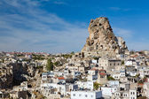 Ortahisar rock fortress in Cappadocia — Stock Photo