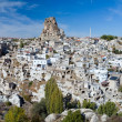 Panorama of Ortahisar Castle in Cappadocia - Stock Photo