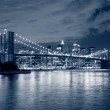 Stock Photo: Brooklyn Bridge and Manhattskyline