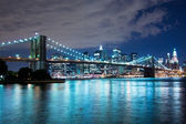 Ponte di brooklyn di notte — Foto Stock