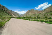 Wide country road in mountains — Stockfoto