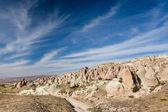 Bajkowe kominy pod błękitne niebo, kapadocja — Zdjęcie stockowe