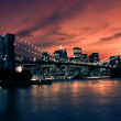 Stock Photo: Brooklyn Bridge and Manhattan at sunset, New York