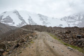 Hail on the road to Tosor pass. Tien Shan — Foto Stock