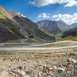 Road going to Sary-Moinok pass. Kirgizstan — Stock Photo