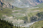 Trucks going from Sary-Moinok pass. Kyrgyzstan — Stock Photo