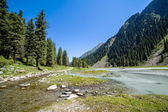 Confluence of rivers on mountain road. Kyrgyzstan — Stock Photo