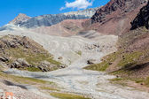 Confluence of rivers in colorful mountains — Stock Photo