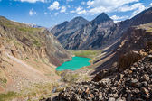 Turquoise lake in mountains of Tien Shan — Stock Photo