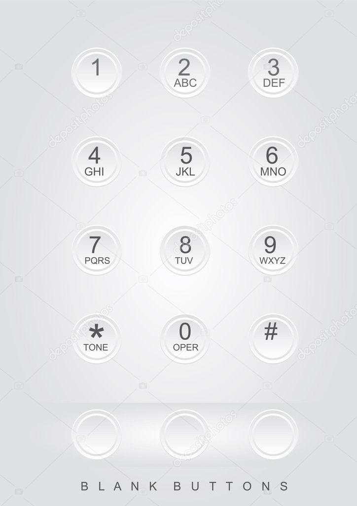 白色电话拨号与空白按钮.矢量插画 — 矢量图片作者 yupiramos