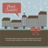 Christmas buildings — Stock Vector