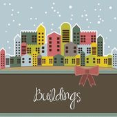 Snowing buildings — Stock Vector