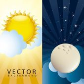 Morning and night — Stock Vector