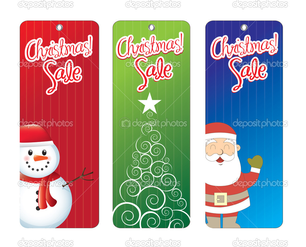 Christmas labels with tree, Santa Claus and snowmen — Stock Vector #13519681