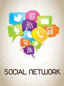 Sociaal netwerk — Stockvector