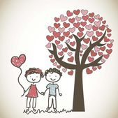 Couple under tree — Stockvektor