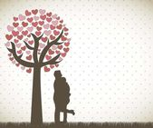 Couple under tree — Stock vektor