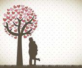 Paar onder boom — Stockvector