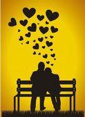 Couple silhouette — Stock Vector