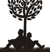 Couple sous arbre — Vecteur