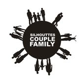 Family and couple silhouette — Stock Vector