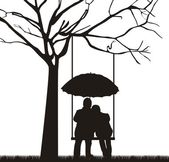 Couple under tree — Vector de stock