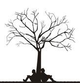 Couple under tree — Stock Vector