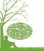 Thinking green — Stock Vector