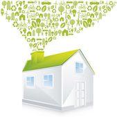 Groen huis — Stockvector