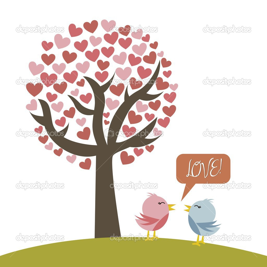 Cute love birds with tree over white background. vector illustration — Stock Vector #13699058