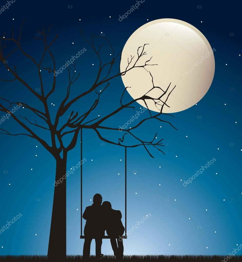 Couple in the night over swing with moon. vector illustration  Stock Vector #13699300
