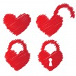 Heart shaped padlocks — Stock Vector