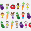Vegetables and children — Stock Vector