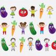Vegetables and children — Stock Vector #13842863