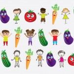 Vegetables and children — Stock Vector