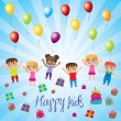 Happy kids — Stockvectorbeeld