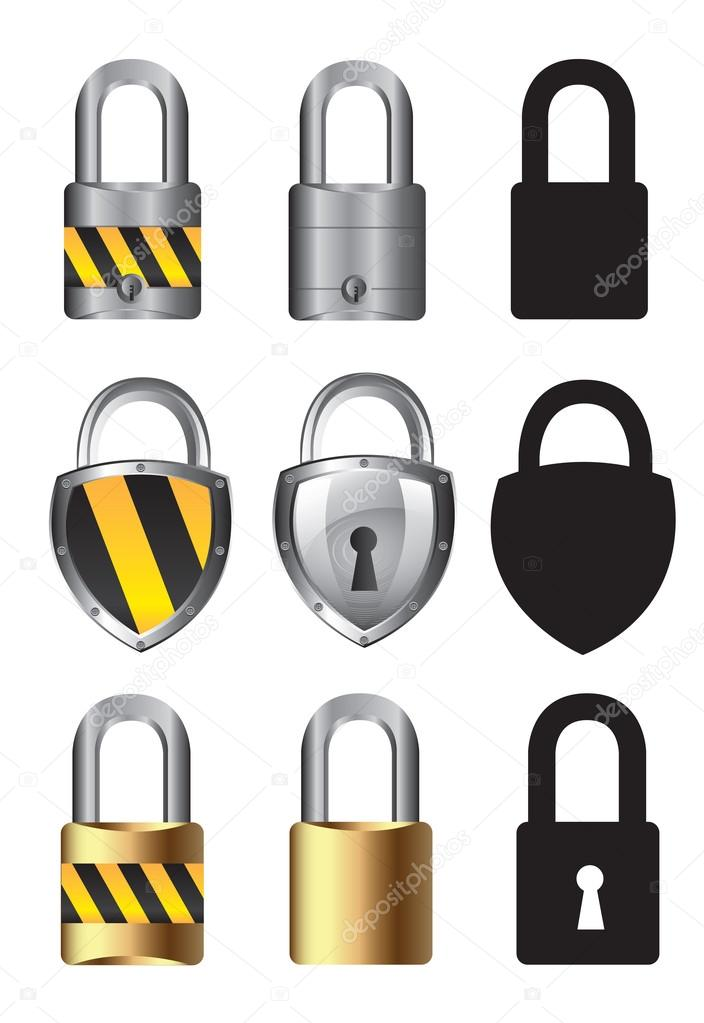 Collections of locks over white background vector illustration — Stock Vector #13841971